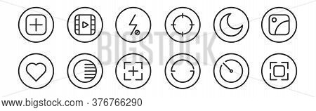 Set Of 12 Thin Outline Icons Such As Camera, Rotate, Adjust, Night Mode, Flash Off, Video For Web, M