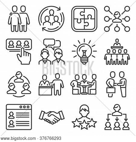 People Communication, Collaboration And Relationship Icons Set. Line Style Vector