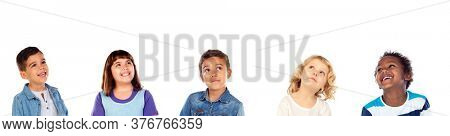 Pensive children thinking isolated on a white background