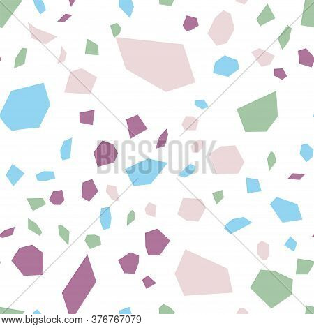 And Red Terrazzo Wall Vector Seamless Pattern. Venetian Terrazzo Tile Texture. White Stone Backdrop.
