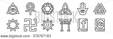 Set Of 12 Thin Outline Icons Such As Quran, Torii Gate, Swastika, Hamsa, Anahata, Paganism For Web,