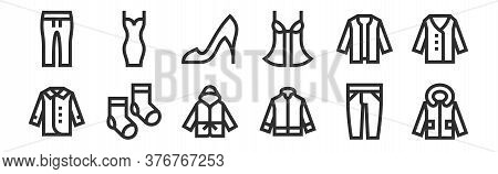 Set Of 12 Thin Outline Icons Such As Jacket, Jacket, Socks, Cardigan, High Heels, Dress For Web, Mob
