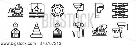 Set Of 12 Thin Outline Icons Such As Paint Roller, Hammer, Cone, Spanner, Wheels, Lifejacket For Web