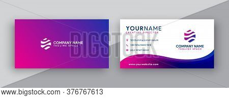 Business Card. Modern Business Card Design . Double Sided Business Card Design Template . Flat Purpl
