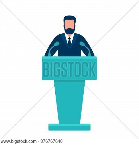 Man In Conference Suit On Podium, Tribune. Speech By People Leader, Businessman, Head, Teacher. Pres