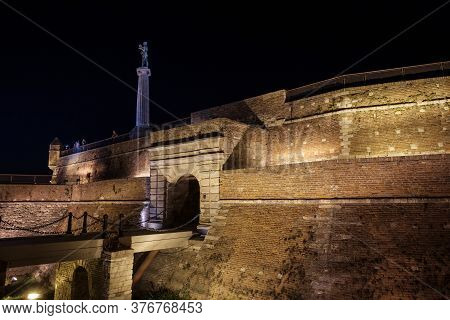 Belgrade / Serbia - September 19, 2018: Night View Of The Belgrade Fortress (kalemegdan) With Victor