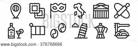 Set Of 12 Thin Outline Icons Such As Spaghetti, Leaning Tower Of Pisa, Italy, Pantheon, Carnival Mas