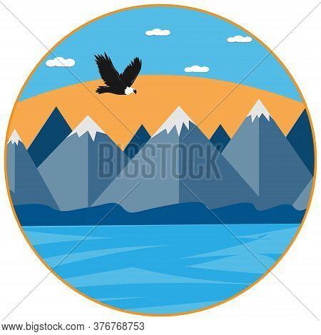 Logo, Eagle, Flying Over A Reservoir On The Background Of Mountains, Round Shape, Color Illustration