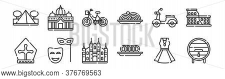 Set Of 12 Thin Outline Icons Such As Wine Barrel, Taralli, Mask, Scooter, Bike, Basilic For Web, Mob