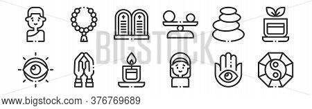 Set Of 12 Thin Outline Icons Such As Taoism, Nun, Praying, Stones, Commandment, Rosary For Web, Mobi