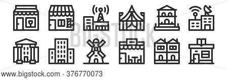 Set Of 12 Thin Outline Icons Such As Library, Restaurant, Condo, House, Telecommunications, Barber S