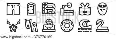 Set Of 12 Thin Outline Icons Such As Rubber Ring, Rubber Ring, Flippers, Lifejacket, Water Slide, Po