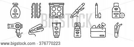 Set Of 12 Thin Outline Icons Such As Tweezers, Foundation, Hair Straightener, Eye Pencil, Eye Shadow