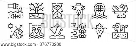 Set Of 12 Thin Outline Icons Such As Drought, Flood, Hydro Power, Urban, Hourglass, Drought For Web,