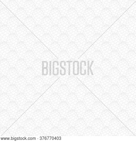 Vector Gray Pinecones Line Art Texture On White Background Seamless Repeat Pattern. Background For T