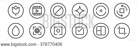 Set Of 12 Thin Outline Icons Such As Crop, Check, Camera, Straighten, Block, Video For Web, Mobile