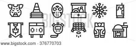 Set Of 12 Thin Outline Icons Such As Popcorn, Hockey Goal, Scoreboard, Snowflakes, Hockey Mask, Cone