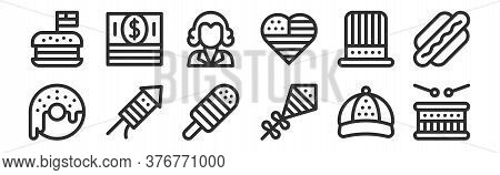 Set Of 12 Thin Outline Icons Such As Drum, Kite, Fireworks, Uncle Sam, Thomas Jefferson, Money For W