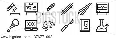 Set Of 12 Thin Outline Icons Such As Flask, Scalpel, Chemical Element, Forceps, Eyedropper, Formula