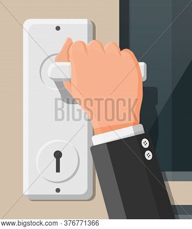 The Hand Opens The Door. Closed Door With Chrome Handle. Concept Of Invitation To Enter Or New Oppor