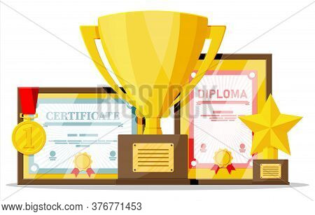 Trophy And Awards Collection. Diploma And Certificate In Frames. Competition Prizes, Cups And Medals