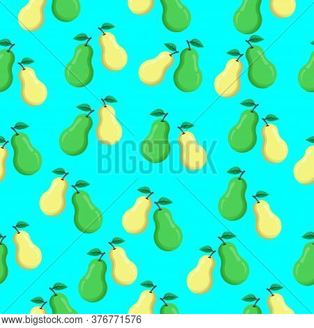 Seamless Pattern With Pears. Green And Yellow Pears On Blue Background. Modern Abstract Design For T