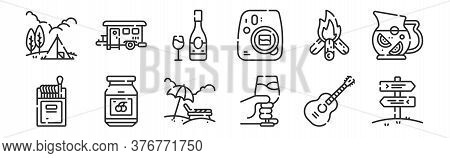 Set Of 12 Thin Outline Icons Such As , Wine Glass, Cherry, Bonfire, Wine Bottle, Cabin For Web, Mobi