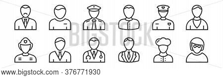 Set Of 12 Thin Outline Icons Such As Employee, Lawyer, Employee, Taxi Driver, Pilot, Student For Web
