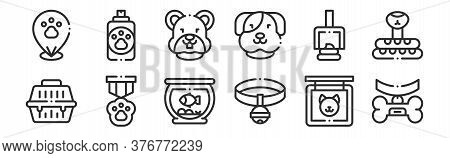 Set Of 12 Thin Outline Icons Such As Collar, Collar, Badge, Poop, Hamster, Soap For Web, Mobile