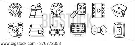 Set Of 12 Thin Outline Icons Such As Smartphone, Coding, Books, Film, Geography, Chess For Web, Mobi