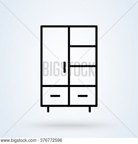 Wardrobe Line Icon. Vector Simple Modern  Design Illustration.