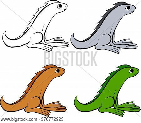 Flat Lizards Collection. Cartoon Reptile Sitting. Small Lizards Animal Flat Icon Collection. Vector