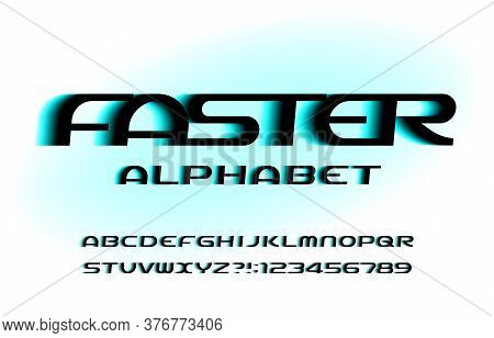 Faster Alphabet Font. Speed Effect Letters And Numbers. Stock Vector Typescript For Your Typography