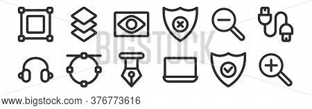 Set Of 12 Thin Outline Icons Such As Zoom In, Laptop, , Zoom Out, Eye, Layer For Web, Mobile