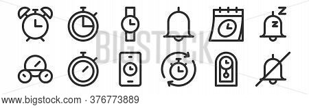 Set Of 12 Thin Outline Icons Such As No Alarm, Stopwatch, Stopwatch, Calendar, Watch, Stopwatch For
