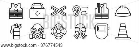 Set Of 12 Thin Outline Icons Such As Cone, Gas Mask, Gas Mask, Life Vest, No Entry, First Aid Kit Fo