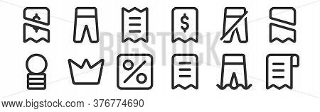 Set Of 12 Thin Outline Icons Such As Bill, Receipt, Crown, Pants, Bill, Pants For Web, Mobile