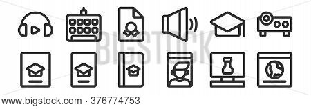 Set Of 12 Thin Outline Icons Such As Website, Video Call, Smartphone, Mortarboard, Report, Keyboard