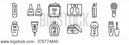 Set Of 12 Thin Outline Icons Such As Mascara, Night Cream, Eye Cream, Hair Spray, Moisturizer, Nail