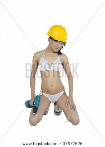 Sexy Worker With Screw Gun And Helmet