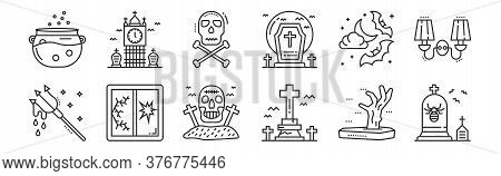 Set Of 12 Thin Outline Icons Such As Gravestone, Graveyard, Broken Window, Night, Danger, Graveyard