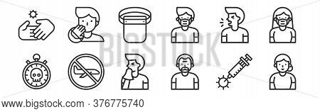 Set Of 12 Thin Outline Icons Such As Elderly, Elder, Flight, Cough, Protective Gear, Do Not Touch Fo
