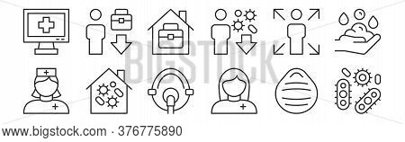 Set Of 12 Thin Outline Icons Such As Infection, Paramedic, Quarantine, Infected, Home Office, Unempl