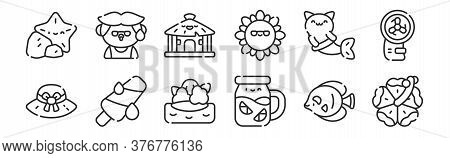 Set Of 12 Thin Outline Icons Such As Flower, Lemonade, Popsicle, Mermaid, Cabin, Man For Web, Mobile