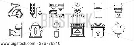 Set Of 12 Thin Outline Icons Such As Sink, Stove, Electric Kettle, Refrigerator, Coffee Machine, Soc