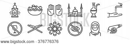 Set Of 12 Thin Outline Icons Such As Cannon, Hidden, Quran, Teapot, Praying, Dates For Web, Mobile