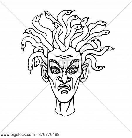 Evil Severed Head Of Medusa Gorgon With Snakes, Greek Mythical Character, Goddess, Vector Illustrati