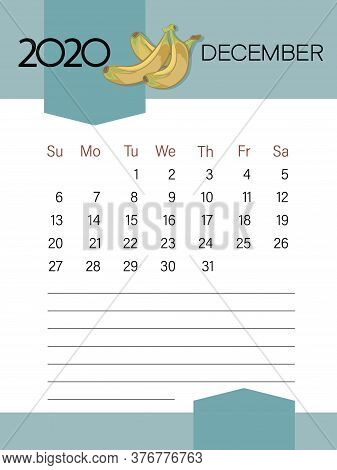 December 2020. Calendar Template. Ripe Bananas. Page. Planner Diary In A Minimalist Style.