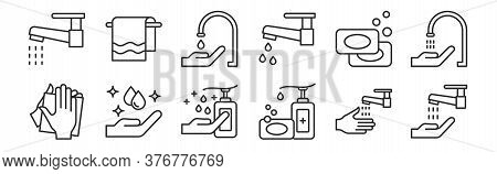 Set Of 12 Thin Outline Icons Such As Hand Washing, Hand Soap, Hand Washing, Soaps, Faucet, Towels Fo