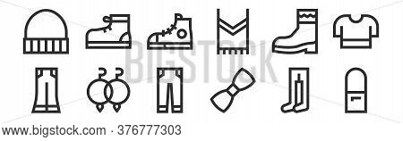 Set Of 12 Thin Outline Icons Such As Shoulder Bag, Bow Tie, Earrings, Boot, Sport Shoes, Sport Shoe